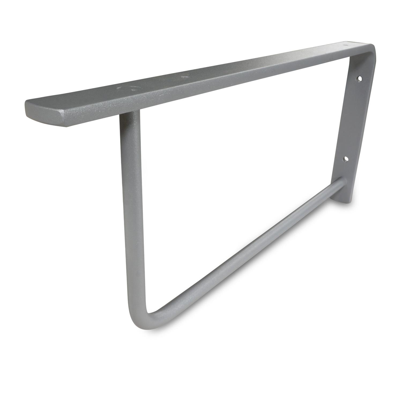 Waschtischhalterung Rechteck Elegant grau - SET (2 Stück) - 45x20 cm - Waschtischplatte / Handtuchhalter  Metall - Streifen: 3x8 mm - Stab: 12 mm - Wandhalterung Stahl – Beschichtet