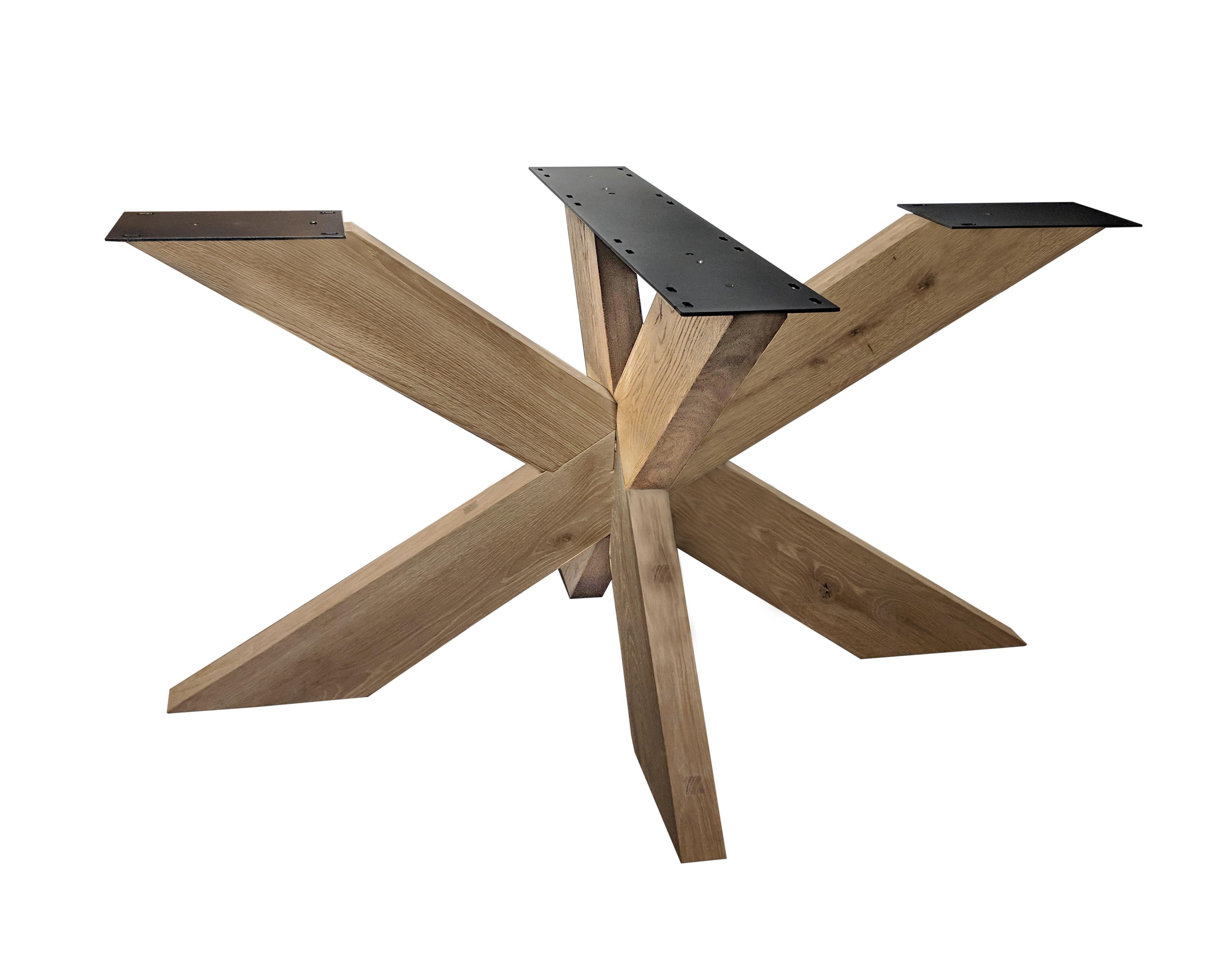 Tischgestell Eiche Spider 6x16 cm - 90x180 cm  - 72 cm hoch - Eichenholz Rustikal - massives Tischunterstell Rechteck, oval & gross rund (Mittelfuß) - Künstlich getrocknet HF 12%