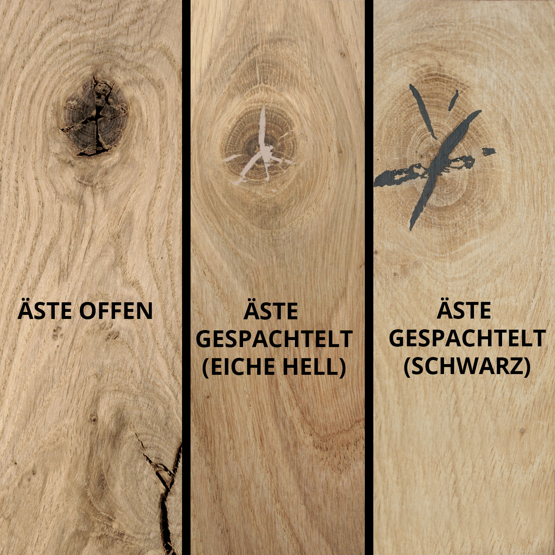 Eichen (Tisch)platte - PROBE - 2 cm dick - Teststück Eichenholz rustikal - verleimt & künstlich getrocknet (HF 8-12%) - 15x25 cm