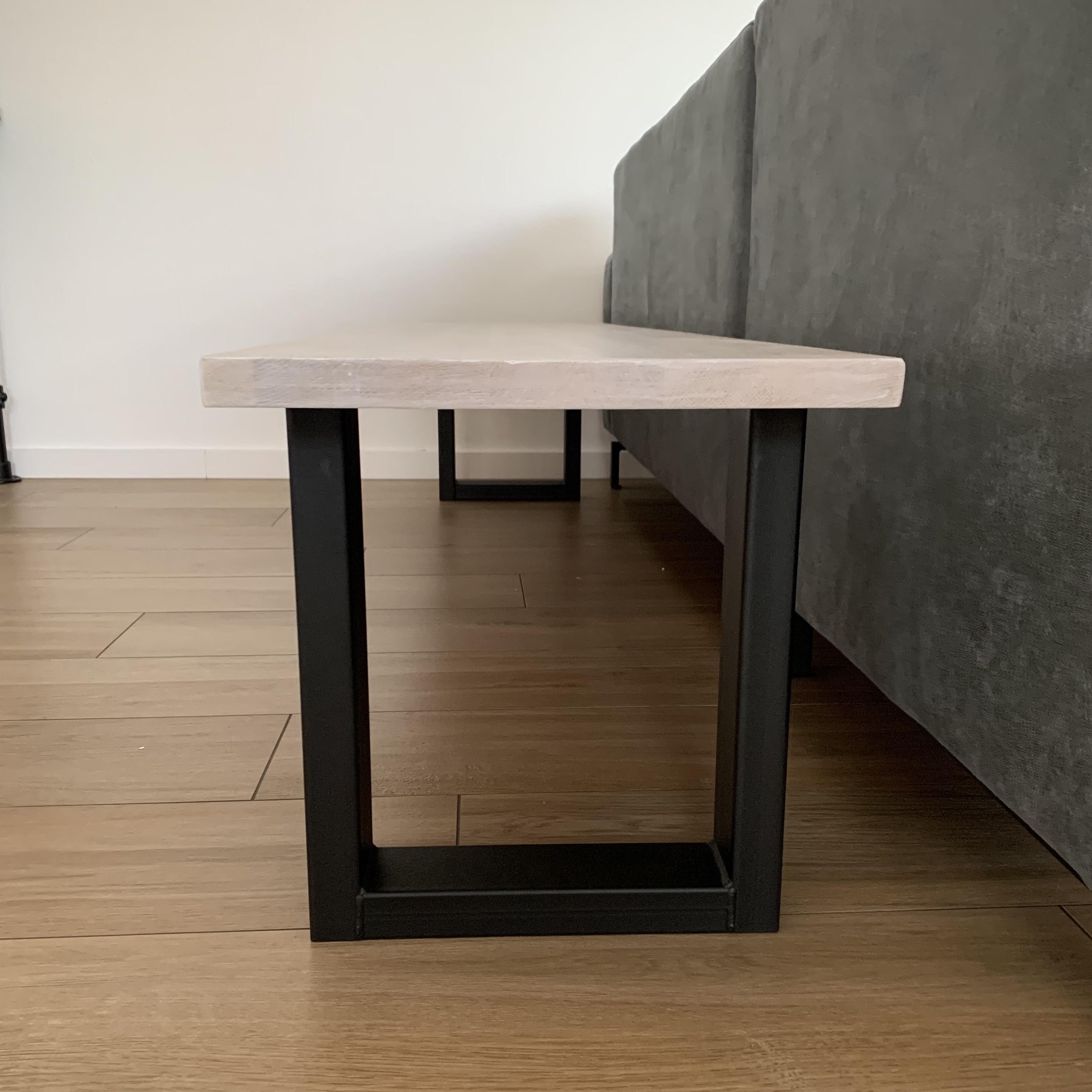 Bankbeine U Metall elegant SET (2 Stück) - 8x4 cm - 36 cm breit - 42 cm hoch - U-form Bankgestell / Tischbeine Couchtisch beschichtet - Schwarz, Anthrazit & Weiß