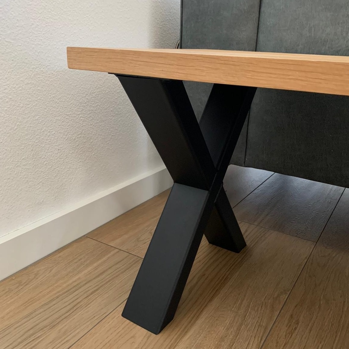 Bankbeine X Metall elegant SET (2 Stück) - 8x4 cm - 36 cm breit - 42 cm hoch - X-form Bankgestell / Tischbeine Couchtisch beschichtet - Schwarz, Anthrazit & Weiß