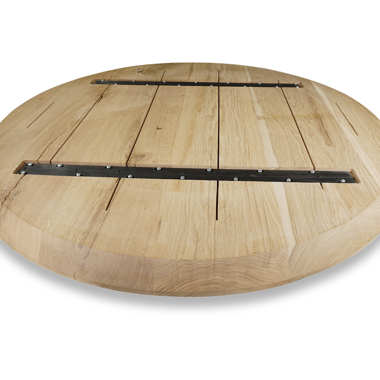 Tischplatte Wildeiche rund - 3 cm dick - Asteiche (rustikal) - mit abgeschrägten Kanten - Eiche Tischplatte rund massiv - Verleimt & künstlich getrocknet (HF 8-12%)