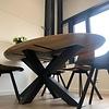 Tischplatte Wildeiche oval - 3 cm dick - Asteiche (rustikal) - mit abgeschrägten Kanten - Eiche Tischplatte ellipse massiv - Verleimt & künstlich getrocknet (HF 8-12%)