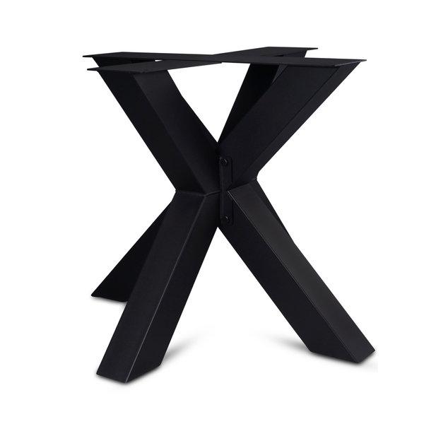 Tischgestell Metall doppelt X - 3-Teilig - 10x10 cm - 90x90 cm - 72 cm hoch