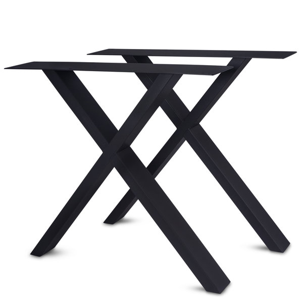 Tischbeine X Metall elegant SET (2 Stück) - 10x4 cm - 77-78 cm breit - 72 cm hoch - Beschichtet