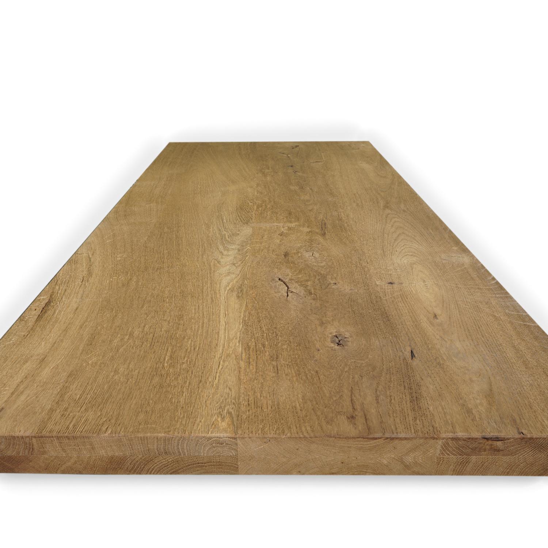 Tischplatte Eiche nach Maß - 4 cm dick (2-lagig) - Eichenholz rustikal - Gebürstet & geräuchert - Eiche Tischplatte massiv - verleimt & künstlich getrocknet (HF 8-12%) - 50-120x50-300 cm