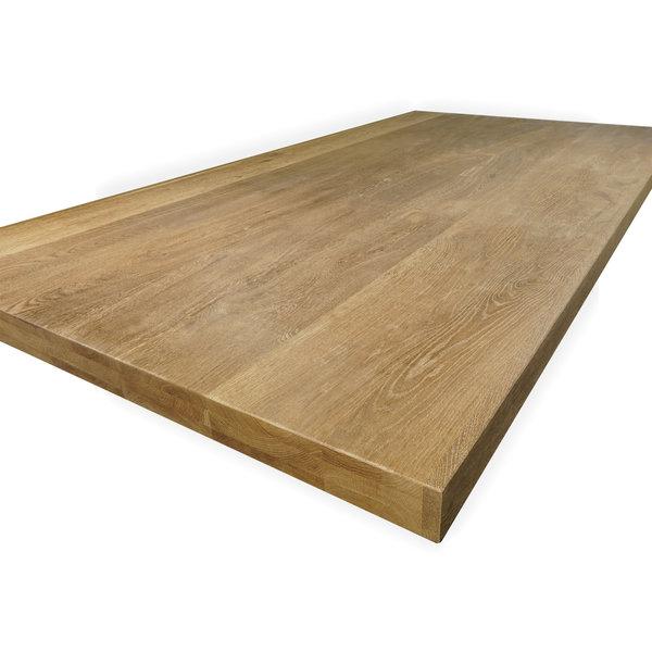 Tischplatte Eiche nach Maß - 6 cm dick (3-lagig) - Eichenholz rustikal - Gebürstet & geräuchert