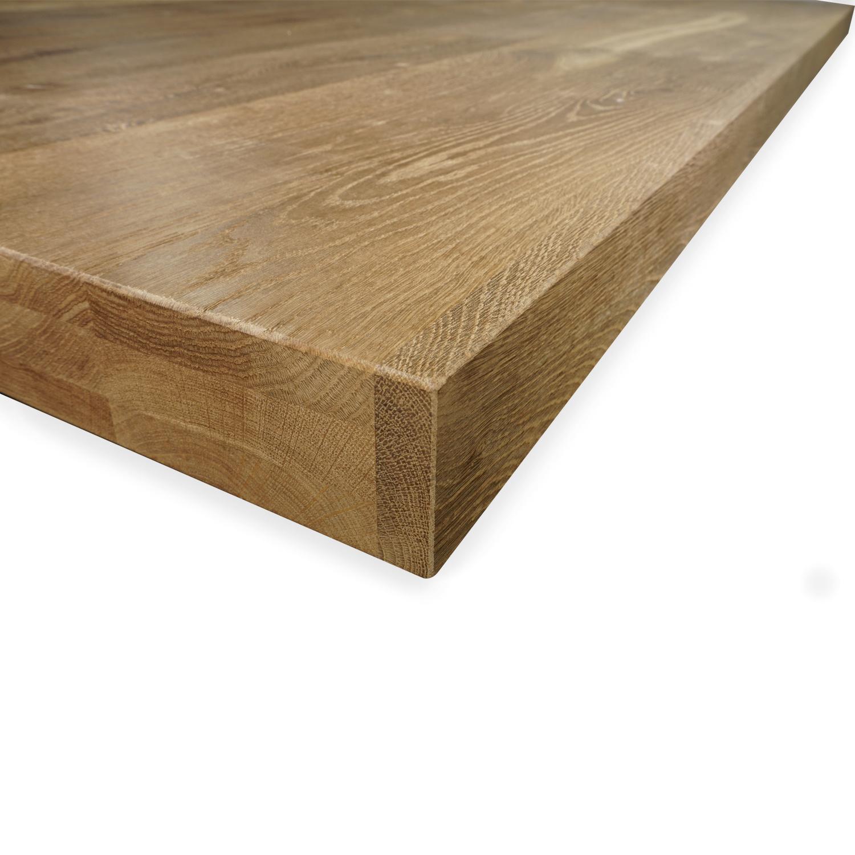 Tischplatte Eiche nach Maß - 6 cm dick (3-lagig) - Eichenholz rustikal - Gebürstet & geräuchert - Eiche Tischplatte aufgedoppelt - verleimt & künstlich getrocknet (HF 8-12%) - 50-120x50-350 cm