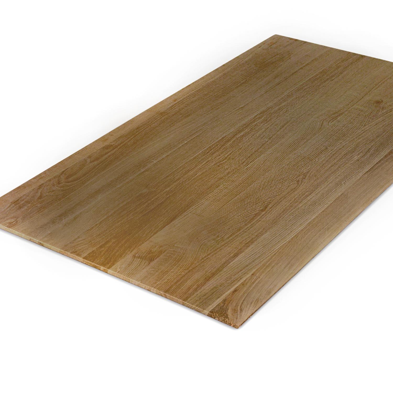 Tischplatte Eiche - Schweizer Kante - nach Maß - 4 cm dick - Eichenholz A-Qualität - Eiche Tischplatte massiv - verleimt & künstlich getrocknet (HF 8-12%) - 50-120x50-300 cm  - Gebürstet & geräuchert