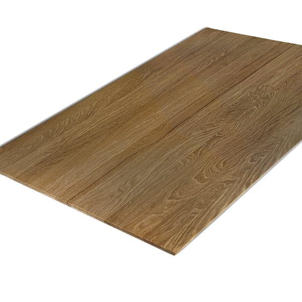 Tischplatte Eiche - Schweizer Kante - nach Maß - 4 cm dick (2-lagig) - Eichenholz A-Qualität - Gebürstet & geräuchert