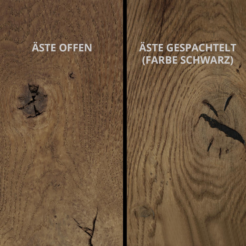 Tischplatte Eiche - Schweizer Kante - nach Maß - 3 cm dick - Eichenholz rustikal - Eiche Tischplatte massiv - verleimt & künstlich getrocknet (HF 8-12%) - 50-120x50-350 cm - Gebürstet & geräuchert