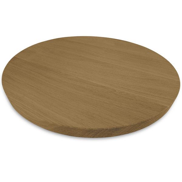 Tischplatte Eiche rund nach Maß - 2 cm dick - Eichenholz A-Qualität - Gebürstet & geräuchert