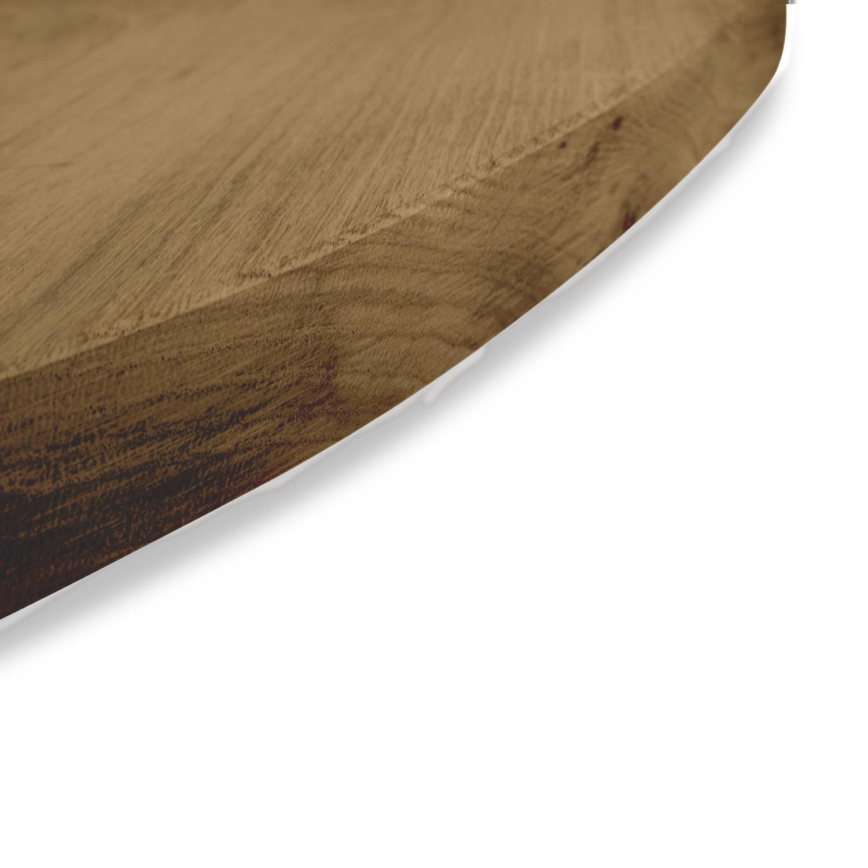 Tischplatte Eiche oval - 3 cm dick - Eichenholz A-Qualität ellipse - Gebürstet & geräuchert - Eiche Tischplatte massiv - verleimt & künstlich getrocknet (HF 8-12%)