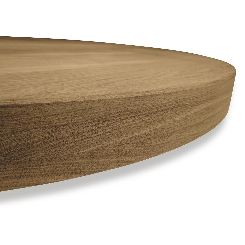 Tischplatte Eiche rund nach Maß - 6 cm dick (3-lagig) - Eichenholz A-Qualität - Gebürstet & Geräuchert - Durchmesser: 35 - 130 cm - Eiche Tischplatte rund aufgedoppelt - verleimt & künstlich getrocknet (HF 8-12%)