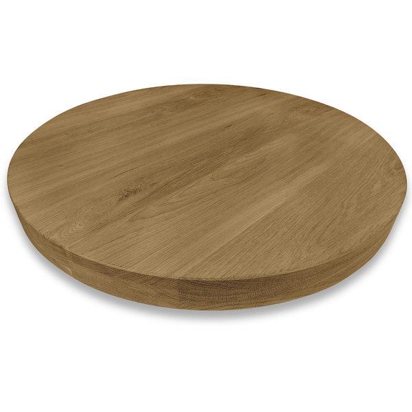 Tischplatte Eiche rund nach Maß - 6 cm dick (3-lagig) - Eichenholz A-Qualität - Gebürstet & Geräuchert