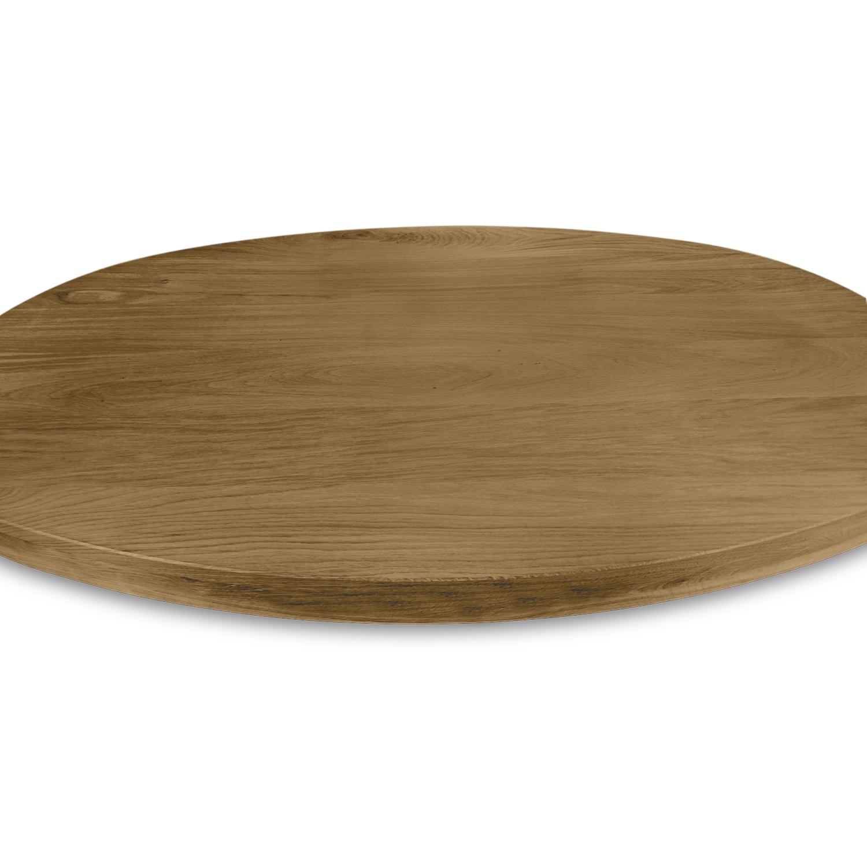 Tischplatte Eiche oval - 6 cm dick (3-lagig) - Eichenholz A-Qualität ellipse - Gebürstet & geräuchert - Eiche Tischplatte aufgedoppelt - verleimt & künstlich getrocknet (HF 8-12%)