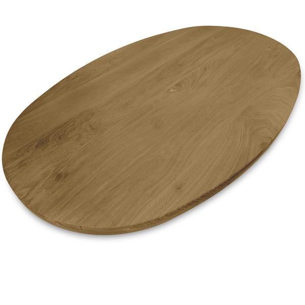 Tischplatte Eiche oval - 4 cm dick (2-lagig) - Eichenholz rustikal - Gebürstet & geräuchert