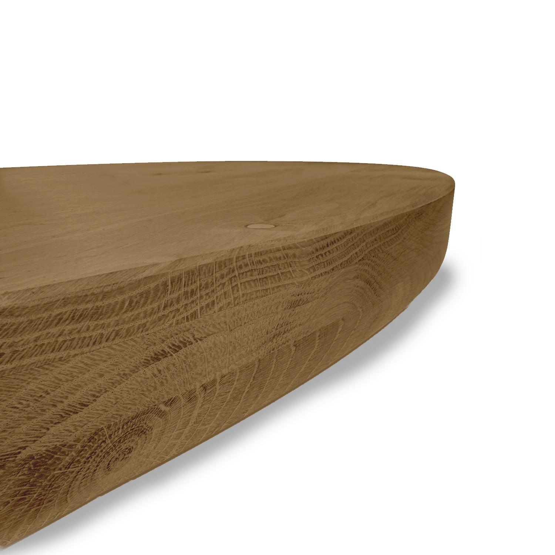 Tischplatte Eiche rund nach Maß - 6 cm dick (3-lagig) - Eichenholz rustikal - Gebürstet & geräuchert - Durchmesser: 35 - 130 cm - Eiche Tischplatte rund - aufgedoppelt - verleimt & künstlich getrocknet (HF 8-12%)