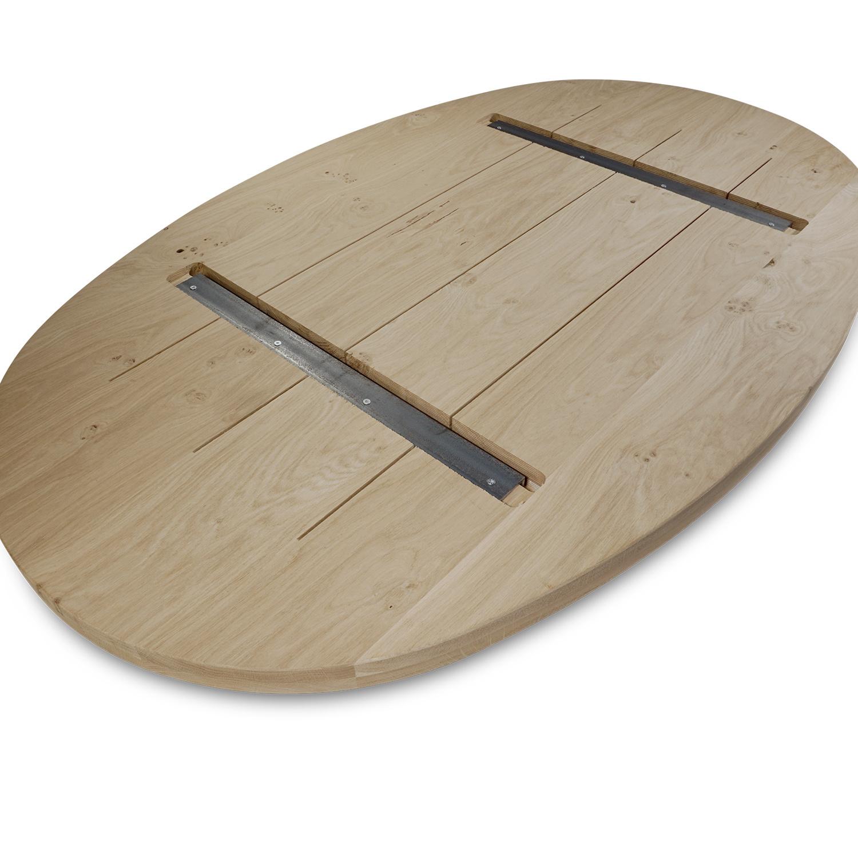 Tischplatte Eiche oval -  4 cm dick (2-lagig) - Eichenholz rustikal ellipse - Gebürstet & geräuchert  - Eiche Tischplatte massiv - verleimt & künstlich getrocknet (HF 8-12%)