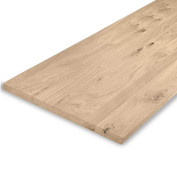 Leimholzplatte Eiche nach Maß - 2 cm dick - Eichenholz rustikal - Sandgestrahlt