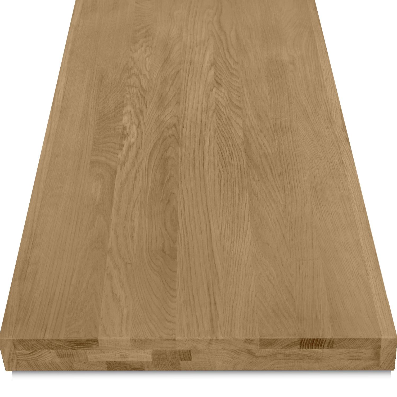 Leimholzplatte Eiche nach Maß - 6 cm dick (3-lagig) - Eichenholz A-Qualität- Gebürstet & geräuchert - Eiche Holzplatte - verleimt & künstlich getrocknet (HF 8-12%) - 15-120x20-350 cm