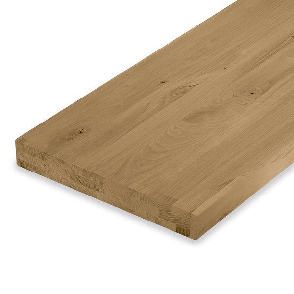 Leimholzplatte Eiche nach Maß - 6 cm dick (3-lagig) - Eichenholz rustikal - Gebürstet & geräuchert