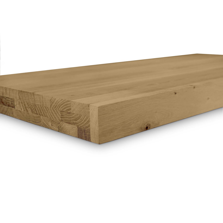 Leimholzplatte Eiche nach Maß - 6 cm dick (3-lagig) - Eichenholz rustikal - Gebürstet & geräuchert - Eiche Holzplatte - verleimt & künstlich getrocknet (HF 8-12%) - 15-120x20-350 cm