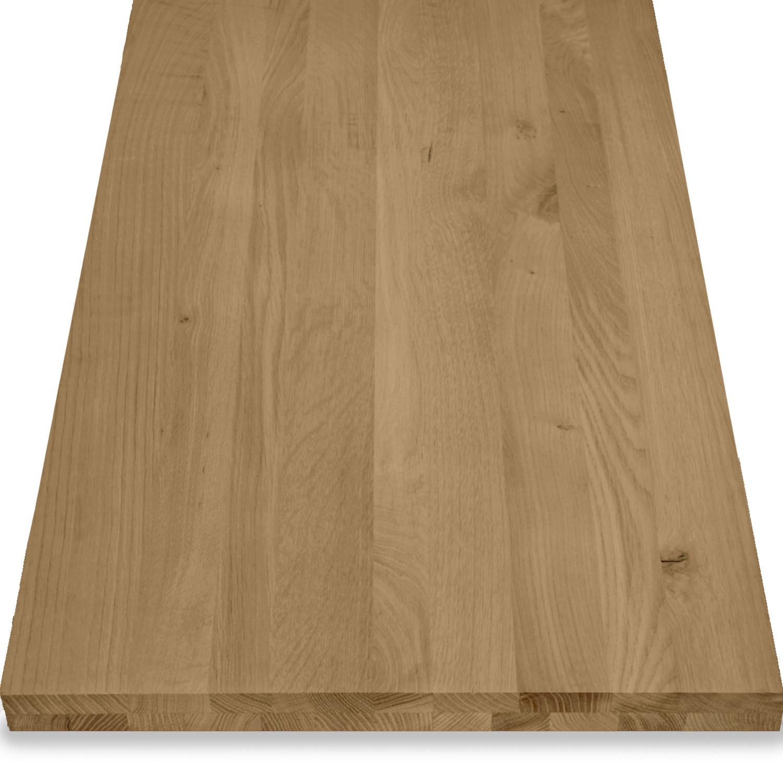Leimholzplatte Eiche nach Maß - 4 cm dick (2-lagig) - Eichenholz rustikal - Gebürstet & geräuchert - Eiche Massivholzplatte - verleimt & künstlich getrocknet (HF 8-12%) - 15-120x20-350 cm