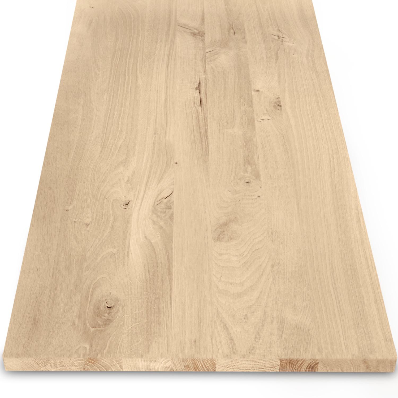 Leimholzplatte Eiche nach Maß - 2 cm dick - Eichenholz rustikal - Eiche Massivholzplatte - verleimt & künstlich getrocknet (HF 8-12%) - 15-120x20-300 cm