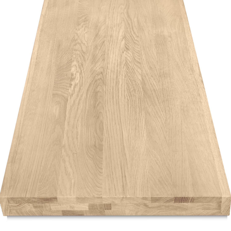Leimholzplatte Eiche nach Maß - 6 cm dick (3-lagig) - Eichenholz A-Qualität- Eiche Holzplatte - verleimt & künstlich getrocknet (HF 8-12%) - 15-120x20-300 cm