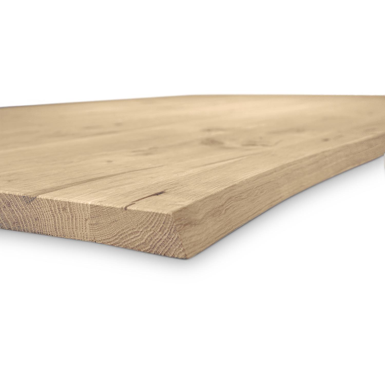 Tischplatte Eiche - mit Baumkante (Optik) - nach Maß - 3 cm dick - Eichenholz rustikal - Eiche Tischplatte massiv mit natürlichen Baumkant - verleimt & künstlich getrocknet (HF 8-12%) - 50-120x50-350 cm