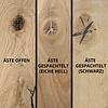 Tischplatte Eiche - mit Baumkante (Optik) - nach Maß - 4 cm dick - Eichenholz rustikal - Eiche Tischplatte massiv mit natürlichen Baumkant - verleimt & künstlich getrocknet (HF 8-12%) - 50-120x50-350 cm