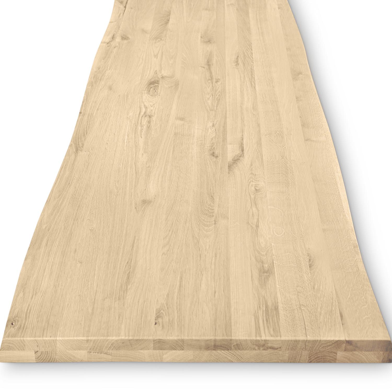 Tischplatte Eiche - mit Baumkante (Optik) - nach Maß - 4 cm dick (2-lagig) - Eichenholz rustikal - Eiche Tischplatte massiv mit natürlichen Baumkant - verleimt & künstlich getrocknet (HF 8-12%) - 50-120x50-350 cm