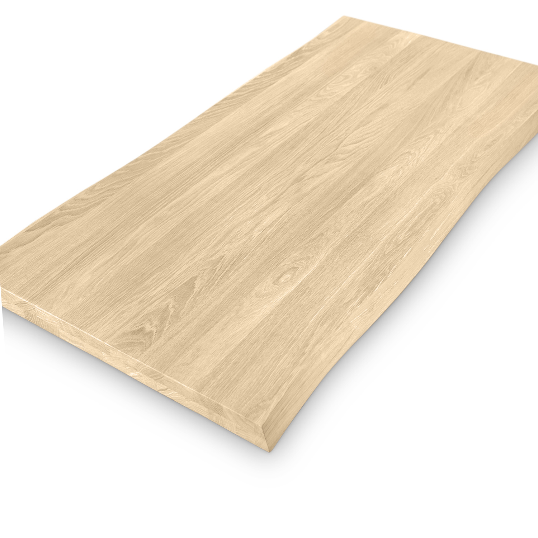 Tischplatte Eiche - mit Baumkante (Optik) - nach Maß - 4 cm dick (2-lagig) - Eichenholz A-Qualität - Eiche Tischplatte massiv mit natürlichen Baumkant - verleimt & künstlich getrocknet (HF 8-12%) - 50-120x50-350 cm