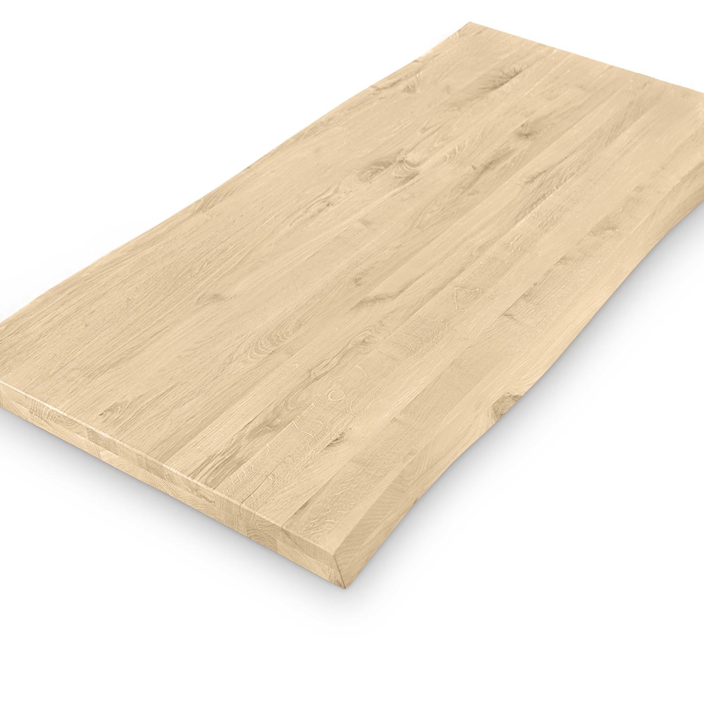 Tischplatte Eiche - mit Baumkante (Optik) - nach Maß - 4 cm dick(2-lagig) - Eichenholz rustikal - Eiche Tischplatte massiv mit natürlichen Baumkant - verleimt & künstlich getrocknet (HF 8-12%) - 50-120x50-350 cm - Gebürstet