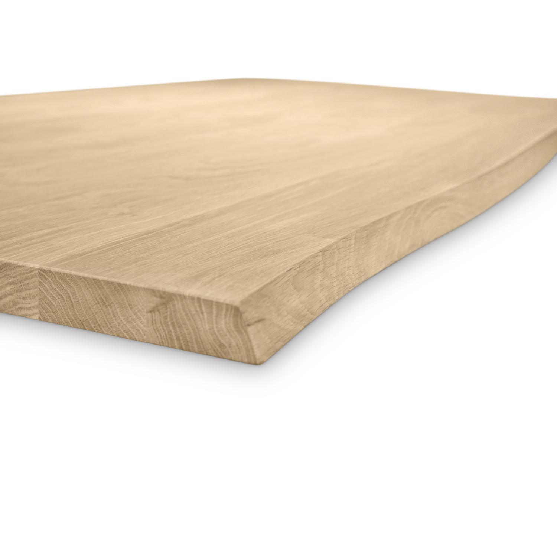 Tischplatte Eiche - mit Baumkante (Optik) - nach Maß - 3 cm dick - Eichenholz A-Qualität - Eiche Tischplatte massiv mit natürlichen Baumkant - verleimt & künstlich getrocknet (HF 8-12%) - 50-120x50-300 cm - Gebürstet