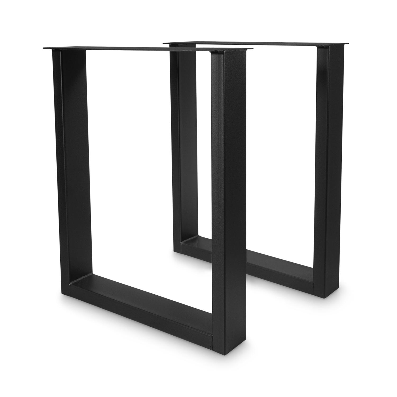 Tischbeine U Metall schmal SET (2 Stück) - Schreibtischbeine - 10x4x0,3 cm - 60 cm breit - 72 cm hoch - U-form Tischkufen / Tischgestell beschichtet - Schwarz
