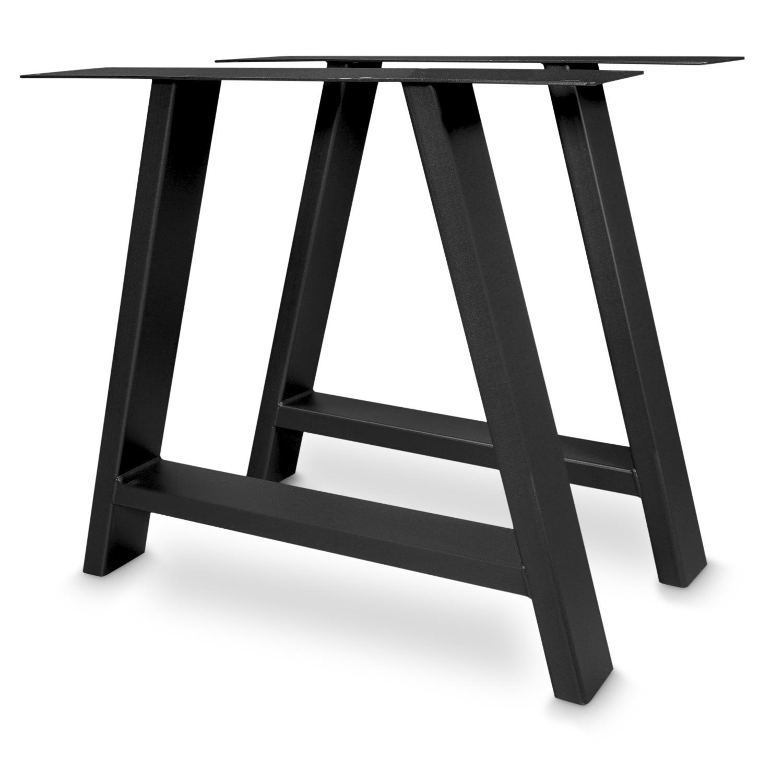 Tischbeine A Metall elegant SET (2 Stück) - 10x4 cm - 78 cm breit - 72 cm hoch - A-form Tischkufen / Tischgestell beschichtet - Schwarz, Anthrazit & Weiß