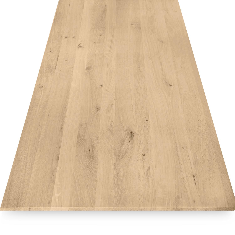 Tischplatte Eiche - Schweizer Kante - nach Maß - 3 cm dick - Eichenholz rustikal - Eiche Tischplatte massiv - verleimt & künstlich getrocknet (HF 8-12%) - 50-120x50-350 cm