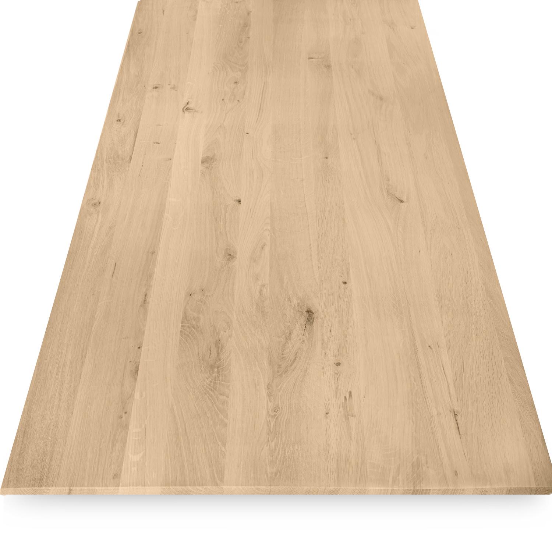 Tischplatte Eiche - Schweizer Kante - nach Maß - 4 cm dick - Eichenholz rustikal - Eiche Tischplatte massiv - verleimt & künstlich getrocknet (HF 8-12%) - 50-120x50-350 cm - Gebürstet