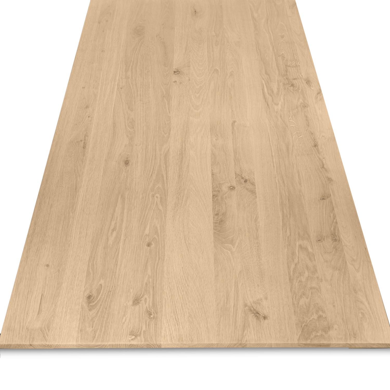 Tischplatte Eiche - Schweizer Kante - nach Maß - 4 cm dick (2-lagig) - Eichenholz rustikal - Eiche Tischplatte massiv - verleimt & künstlich getrocknet (HF 8-12%) - 50-120x50-350 cm