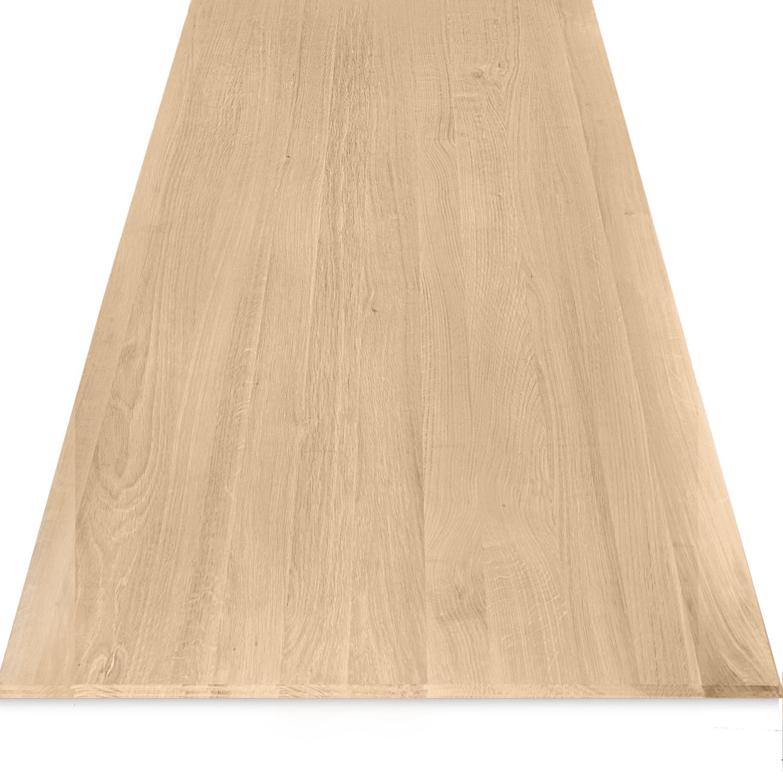 Tischplatte Eiche - Schweizer Kante - nach Maß - 4 cm dick - Eichenholz A-Qualität - Eiche Tischplatte massiv - verleimt & künstlich getrocknet (HF 8-12%) - 50-120x50-350 cm  - Gebürstet