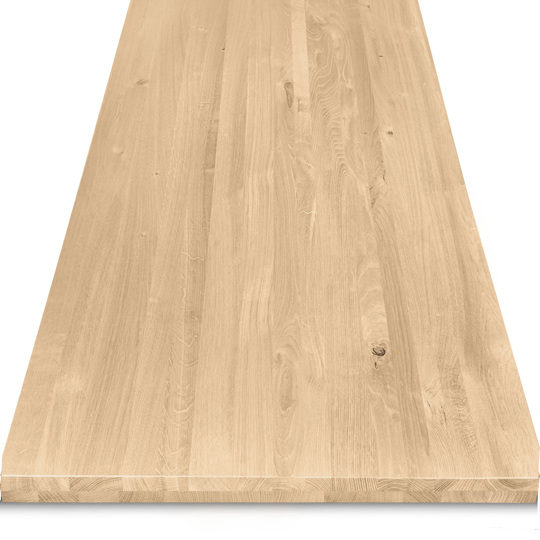 Tischplatte Eiche nach Maß - 4 cm dick (2-lagig) - Eichenholz rustikal - Gebürstet - Eiche Tischplatte massiv - verleimt & künstlich getrocknet (HF 8-12%) - 50-120x50-350 cm