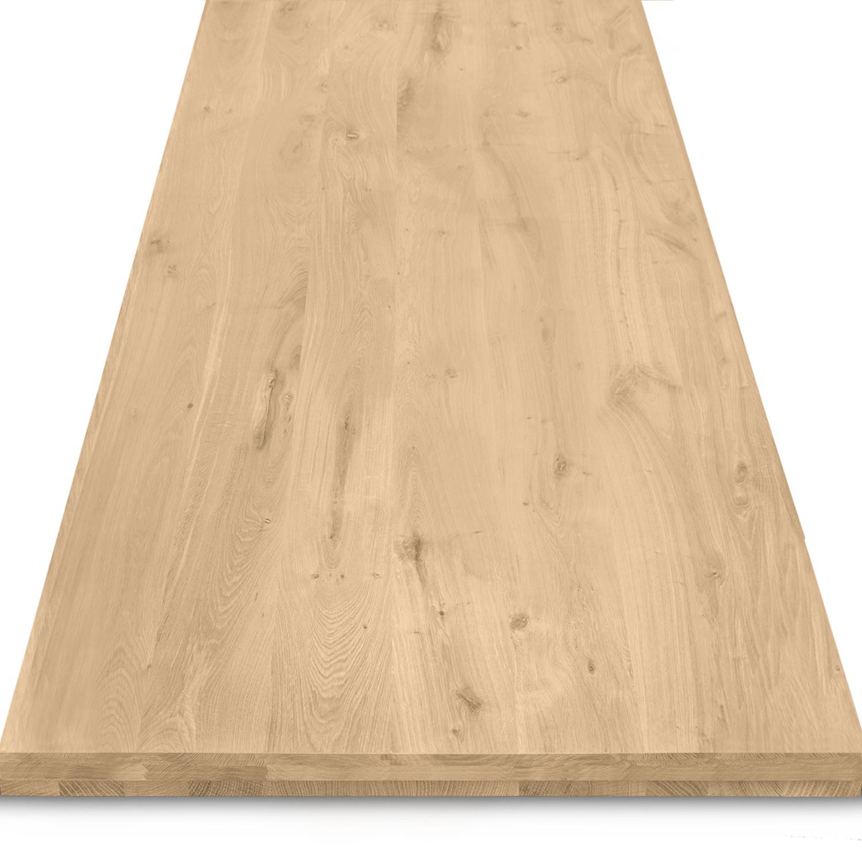 Tischplatte Eiche nach Maß - 6 cm dick (3-lagig) - Eichenholz rustikal - Gebürstet - Eiche Tischplatte aufgedoppelt - verleimt & künstlich getrocknet (HF 8-12%) - 50-120x50-300 cm