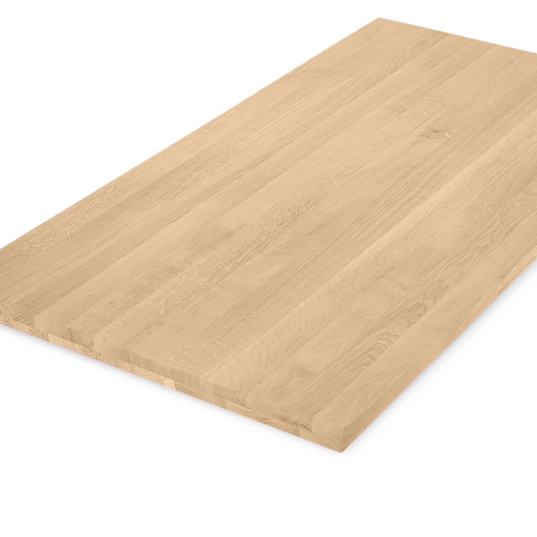 Tischplatte Eiche nach Maß - 4 cm dick (2-lagig) - Eichenholz A-Qualität - Gebürstet - Eiche Tischplatte massiv - verleimt & künstlich getrocknet (HF 8-12%) - 50-120x50-350 cm