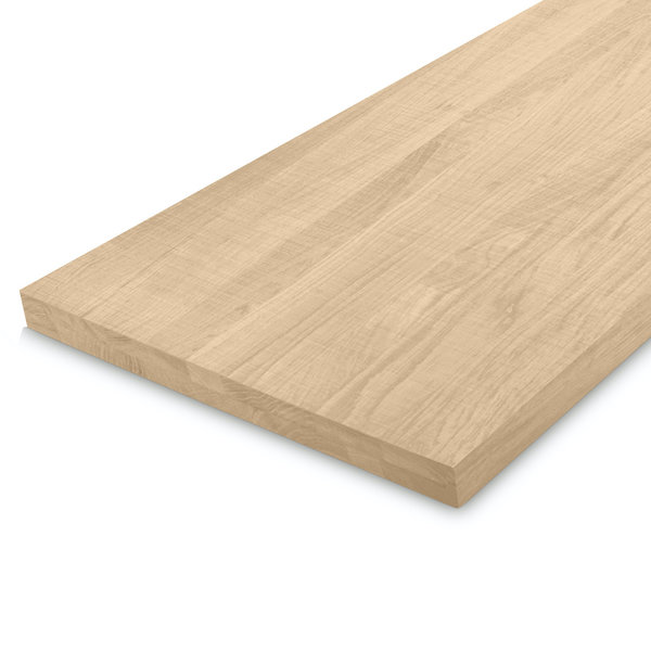 Leimholzplatte Eiche nach Maß - 4 cm dick - Eichenholz A-Qualität - Sägerau Optik