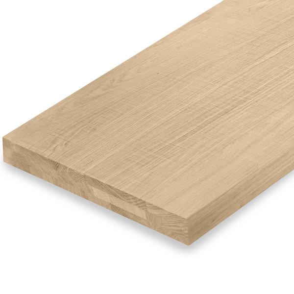 Leimholzplatte Eiche nach Maß - 6 cm dick (3-lagig) - Eichenholz A-Qualität - Sägerau Optik
