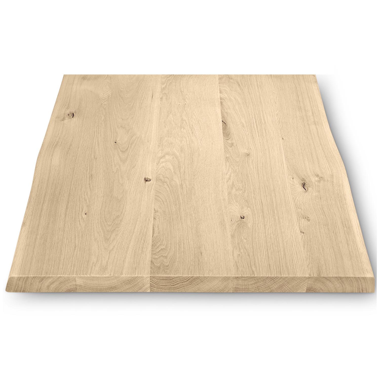 Tischplatte Wildeiche (Bistro) baumkante viereckig - 4 cm dick - verschiedene Größen - Asteiche (rustikal) - Eiche Tischplatte mit  natürlichen Baumkant - Verleimt & künstlich getrocknet (HF 8-12%)
