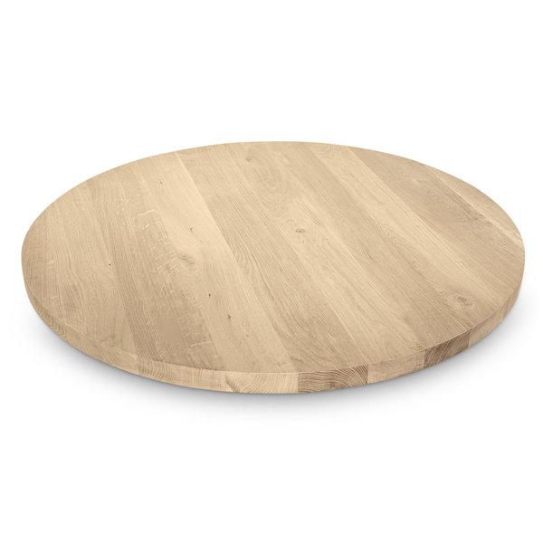 Tischplatte (Bistro) Wildeiche rund - 4 cm dick - Wildeiche - Gebürstet