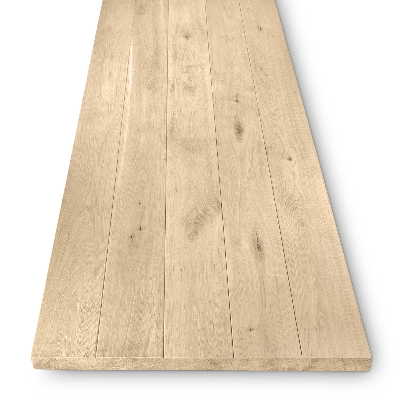 Tischplatte Wildeiche - eckig - 4,5 cm dick - verschiedene Größen - Asteiche (rustikal) - Gebürstet - Eiche Tischplatte - Verleimt & künstlich getrocknet (HF 8-12%) - mit V-Fuge